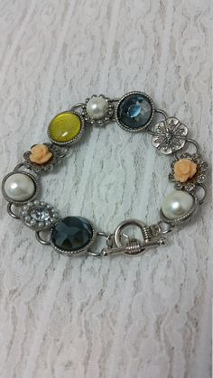 Mother's Day, vintage style, cabochon bracelet, shabby chic  DenaJewelryDesigns on Etsy