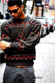 #guys #mens #street #fashion #menswear #style #streetstyle #red #maroon #sweater #knit
