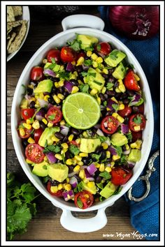 Avocado, Black Bean & Corn Salad w/ Cilantro Lime Dressing is hearty, healthy and delicious. It's vegan & gluten-free, too.