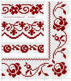 Cross Stitch Borders, Cross Stitch Designs, Cross Stitching, Cross Stitch Embroidery, Hand Embroidery, Filet Crochet, Thread Crochet, Crochet Lace, Yarn Crafts