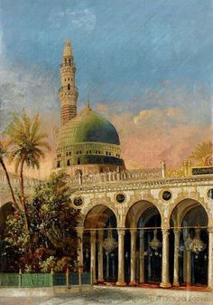 Al Masjid Al Nabawi Al Madina Al Monowera in the days of the Ottoman Empire Islamic Images, Islamic Pictures, Islamic Architecture, Art And Architecture, Arabian Art, Islamic Paintings, Les Religions, Beautiful Mosques, Islamic Wallpaper