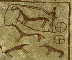 Rock carving of a chariot pulled by two horses from Kivik grave in Skåne, Sweden