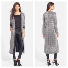 ASTR plaid long coat from Nordstroms size large Super cute classic plaid textures a collarless layering coat styled with cuff able sleeves and a statuesque hemline. Front slit pockets, jacket lined except arms. In good shape -super cute boyfriend trench style. 55% polyester 32% cotton 3% spandex. Retails at $88.00. Size Large. Sold out. Bought at Nordstroms. ASTR Jackets & Coats Trench Coats