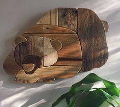 Rustic Hibernating Bear - handmade reclaimed wood wall hanging  rustic woodland handmade