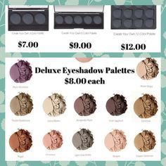 Crest your own eyeshadow palette 3/5/ or 12  http://www.shophodgepodge.com/rep/amandamarie721