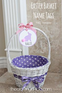 Free easter basket gift tags basket gift easter baskets and easter easter basket name tags printable negle Image collections