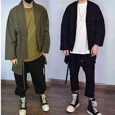 3 couleurs noir armée vert et gris hommes surdimensionné Kimono Streetwear mode longues chemises ouvrir point Cardigan mode palangre