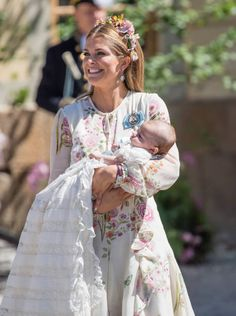 Princess Madeleine of Sweden and Princess Adrienne of Sweden attend the christening of Princess Adrienne of Sweden at Drottningholm Palace Chapel on...
