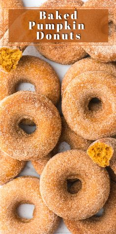 Our favorite pumpkin donuts only take 30 minutes to make! Coat these fall donuts in cinnamon sugar for a classic pumpkin spice donut. Baked donuts are easy to make in the oven with only 10 ingredients. Plus they are eggless and include gluten free instructions. #pumpkindonuts #falldonuts #bakeddonuts #glutenfreedonuts Donut Recipes, Tart Recipes, Cooking Recipes, Dessert Recipes, Kitchen Recipes, Recipes Dinner, Vegan Recipes, Baked Pumpkin, Pumpkin Recipes
