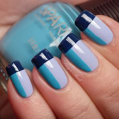 Love the color blocking on these nails.
