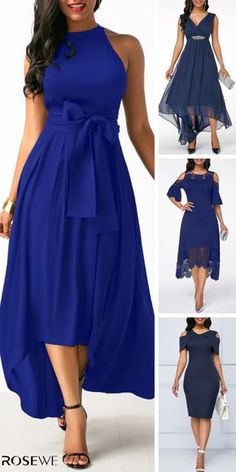 You'll be admired as soon as you set foot in the party wearing the blue Maxi Dress! Navy Blue Dress is enough to make any girl's heart race with excitement! Prom Dresses Two Piece, Dressy Dresses, Cute Dresses, Beautiful Dresses, Summer Dresses, Blue Dresses For Women, Clothes For Women, Cocktail Dresses With Sleeves, Komplette Outfits