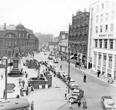 Fitzalan Square looking towards Flat Street, General Post Office and King Edward VII Statue, left, Marples Hotel and The White Building, right