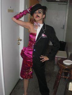 I like this one.  Half man half woman costume.