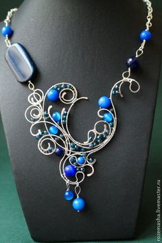 Колье, бусы ручной работы. Ярмарка Мастеров - ручная работа Колье Downton Abbey (вариант в синем). Handmade.