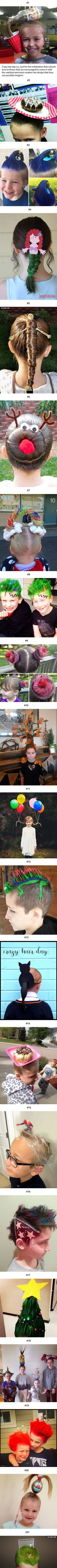 21 Best Crazy Hair Day Dos Ever! is part of Best Crazy Hair Day Dos Ever Kids Wacky Hair Crazy - More memes, funny videos and pics on Fete Halloween, Halloween Costumes, Fairy Costumes, Cosplay Costumes, Wacky Hair, Crazy Hair Days, Cute Hairstyles, Halloween Hairstyles, School Hairstyles