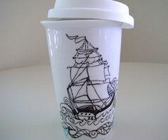 Ceramic Travel Mug Eco Friendly Ship Tattoo Nautical Sailor pirate bl…