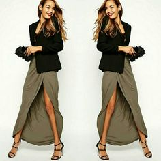 ASOS Wrap Maxi Skirt MAXI SKIRT BY ASOS COLLECTION in Khaki. Light weight jersey, high-rise elasticated waistband, and wrap front. Regular fit - true to size. Material is 100% Viscose. Brand new with tags. ASOS Skirts Maxi