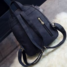 Fashion Frosted PU Zippered School Bag With Metal Lock Match Backpack