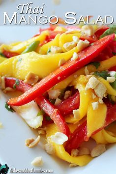The delicious flavor of mango and red pepper are so good in this dish! This salad has a nice balance of tanginess with little sweetness, and the peanuts sprinkled on top before serving give this such a nice crunch.