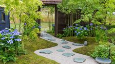 Explore the line-up of exciting show gardens and features at the RHS Hampton Court Palace Garden Festival in 2020 Hampton Court Flower Show, Rhs Hampton Court, Flower Shower, Summer Garden, Stepping Stones, Sidewalk, Palace Garden, Exterior, Gardening