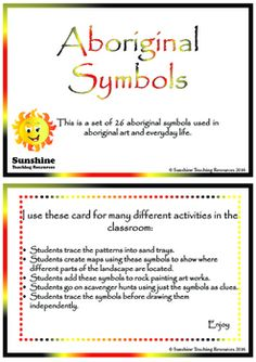 This is a set of 26 aboriginal symbols used in art and everyday life. I use these card for many different activities in the classroom: Students trace the patterns into sand trays. Students create maps using these symbols to show where different parts of the landscape are located. Aboriginal Symbols, Aboriginal Art, Teacher Resources, Trays, Sunshine, Students, Classroom, Map, Teaching