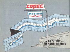 Copec Mobiloil  ... servicio en todo el país. Publicado en Guía del Veraneante 1959. Ferrocarriles del Estado.