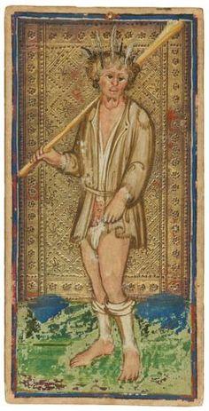 The Fool  | Visconti-Sforza Tarot Cards | 1450-1480 | Morgan Library & Museum | Museum #: MS M.630 (no. 1)