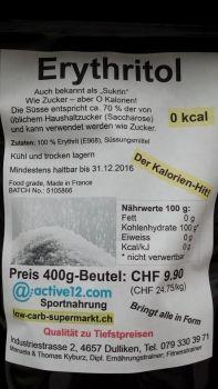 Erythritol / Erythrit der kalorienlose 'Kristallzucker' jetzt im 400 g- und zum günstigeren kg-Preis im 1.5 kg Beutel!