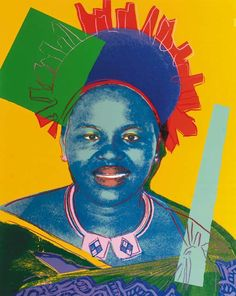 Queen Ntombi Twala of Swaziland 348 by Andy Warhol is part of the Reigning Queens series produced by Warhol in 1985. The portfolio consists of sixteen screenprints. Warhol depicts these four female monarchs in their own right, rather than as women who were married to a king.