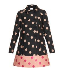 REDVALENTINO Polka-dot double-breasted coat (76.010 RUB) ❤ liked on Polyvore featuring outerwear, coats, jackets, casacos, dresses, black multi, red valentino, a-line coat, double breasted coat and jacquard coat