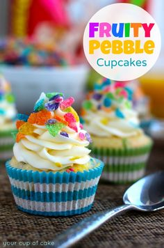Fruity Pebble Cupcakes by Your Cup of Cake - Rugby Stripe baking cups from shopsweetsandtreats.com