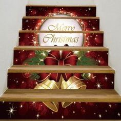 Christmas Bells Pattern Stair Stickers - Deep Red Inch( No Frame ) Stair Stickers Wall Stickers Stair Stickers, Floor Stickers, Diy Stickers, Stickers Online, 3d Christmas, Christmas Bells, Christmas Baubles, Christmas Stickers, Inspire Me Home Decor