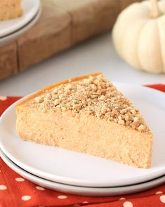 #PUMPKIN CHEESECAKE… This seasonal dessert has the pie flavor you want, the cheesecake texture you need & the low calorie count you deserve (just 143 calories/slice)!