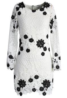 Black Flowers Blooming on White Shift Dress