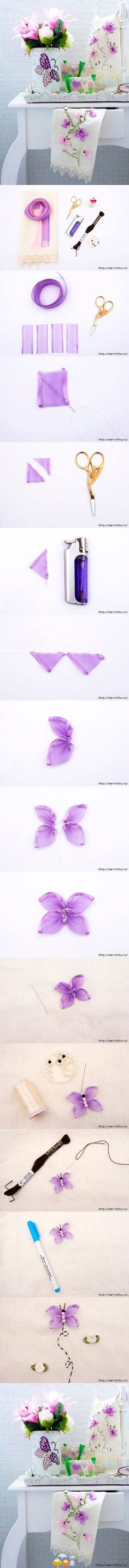 Ribbon butterfly for embellishing use w/photo tutorial...SO pretty and delicate looking