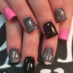 Black & Pink Nails! #Nails #Beauty #Gifts #Holidays Visit Beauty.com for more.