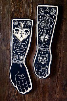 Tattoo inspired woodcuts by Bryn Perrott