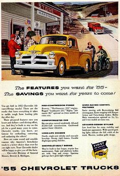 we have had sooo many Chevy pickups, all 1955,56 and 57.  Even one like the red truck in this picture.  Still have one now.