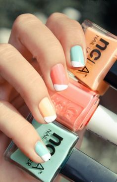 orange,blue,and pink nails