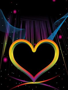 Colorful Heart on Black Background M