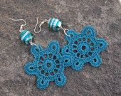 Crochet earrings - Crochet jewerlry - Star Earrings - Blue Green Earrings -Large Earrings