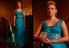 "Betty's gorgeous dress she wears the night Jimmy suggests Don is cheating on her (season 2, episode 7, ""The Gold Violin"")."