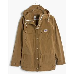 MADEWELL Penfield® Vassan Jacket (255 CAD) ❤ liked on Polyvore featuring outerwear, jackets, tan, tan jacket, weatherproof jacket, madewell jacket, madewell and button up jacket