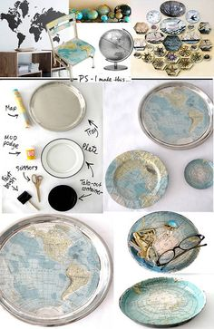 mod podge used to create a john derian type tray, love this one with the map, great for holiday giving, kids' projects - another project for me to try!