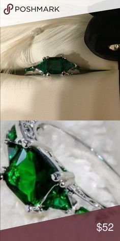 New Beautiful Ring CZ. .925 sterling silver. Green AAA+ Austrian crystal. Size 7 Jewelry Rings