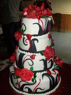 This was a Valentine's Day wedding cake