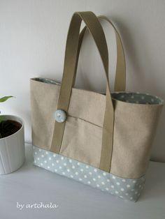 artchala handmade: Natural Blended Cotton Linen wt Dots in Simple Way 自然棉麻包