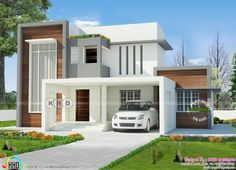 Beautiful new and stylish contemporary house plan in an are of 2400 square feet by Cogo Architects, Palakkad, Kerala. Simple House Design, Bungalow House Design, House Front Design, Indian Home Design, Kerala House Design, Luxury Modern Homes, Modern Villa Design, Latest House Designs, Modern Architecture House