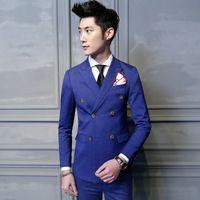 Spring Men's Suit Fashion  gentleman Blue Plaid Double Breasted  Jacket Pants Vest X011
