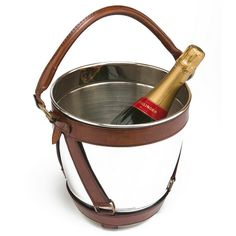Aubeterre Blue - Leather Wine Bottle Cooler, Brown, £160.00 (http://www.aubeterreblue.co.uk/drinking-barware/drinks-cooling/leather-wine-bottle-cooler-brown/)